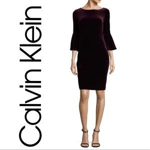 Calvin Klein Crush Velvet Bell Sleeve Dress